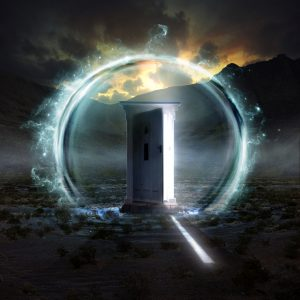 A door opens into a new dimension coming from a sphere of blue energy on a dreamy landscape