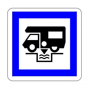 Dumping station for camping car symbol